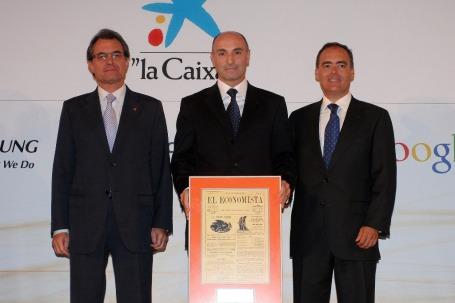 Artur Mas, Gabriel Moreno (Inditex) y Javier Rodriguez Zapatero (Google)