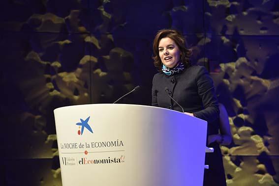 La vicepresidenta del Gobierno, ministra de la Presidencia y para las Administraciones Territoriales, Soraya Sáenz de Santamaría presidió la VI Edición de La Noche de la Economía.